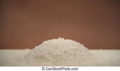 White rice background closeup photo in studio