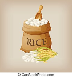 White rice in small burlap sack. Vector illustration EPS10