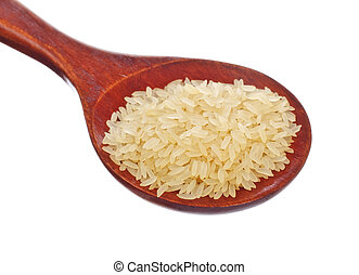 white rice in wooden spoon