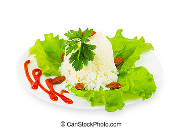 White rice on a plate