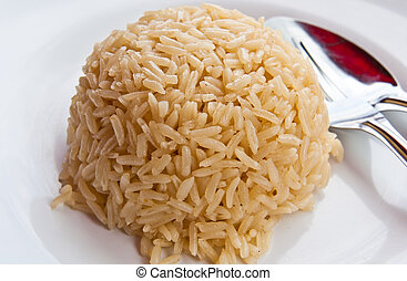 White rice on the plate