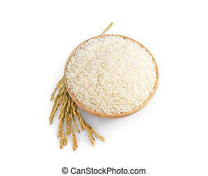 white rice (Thai Jasmine rice) in the wooden bowl and unmilled rice isolated on white background, top view