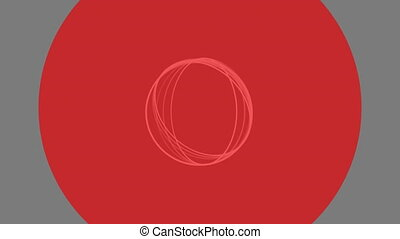 White rings and red kaleidoscope shapes on grey background