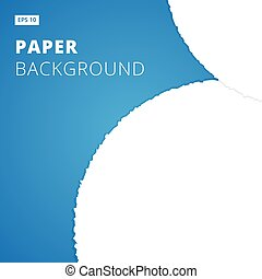 White ripped paper cut on blue background, Vector