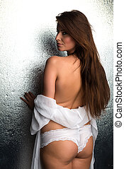White robe - Beautiful Czech woman in a white robe and...