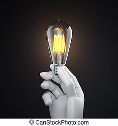 White robot hand with vintage glowing bulb. 3d rendering