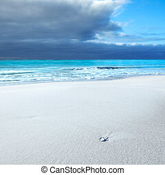 White rock in a white beach under blue cloudy sky