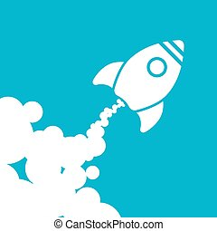 white rocket icon with clouds on a blue background - vector illu