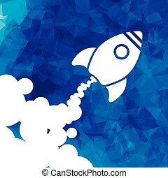 white rocket icon with clouds on a blue triangular background -