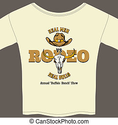 White Rodeo Tee Shirt with Graphics