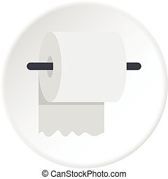 White roll of toilet paper on a holder icon circle