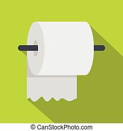 White roll of toilet paper on a holder icon