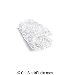 White rolled towel on white background