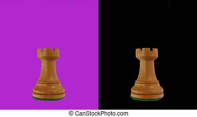 White rook chess piece chromakey 360 degree rotation ...