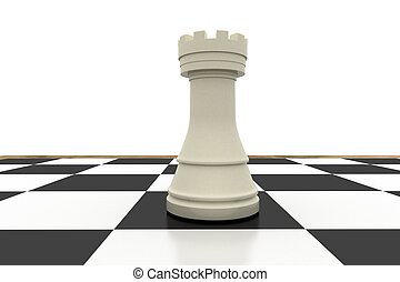 White rook on chess board on white background