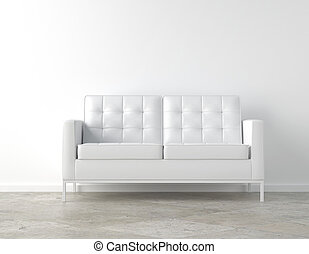 White room and couch - interior scene of white couch on...