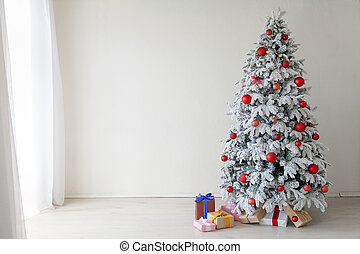 White room Christmas tree with red toys new year winter gifts decor