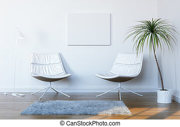 white room for relaxation and conversation