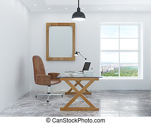 White room in the loft style with a desk and chair and a picture frame on the wall
