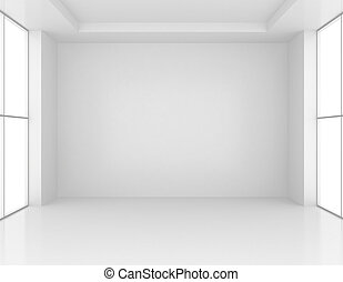 White Room Interior. Empty Wall Background. 3d rendering.