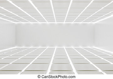 White room interior with detailed, illuminated ceiling and...