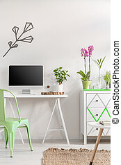 White room interior with mint chair