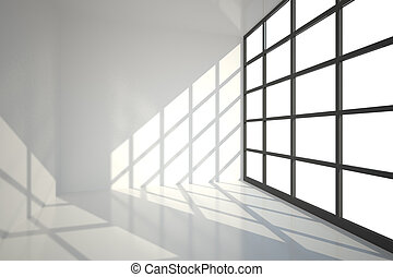 White room with a lot of windows