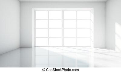 white room with big window