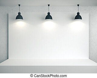 White room with blank poster on wall