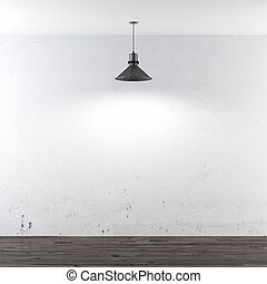 white room with ceiling lamp