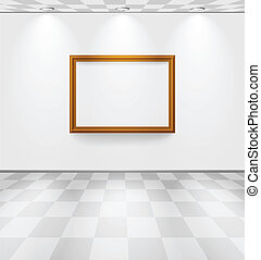 White room with frame - White room with checked floor and...