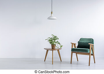 White room with green armchair