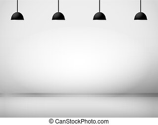 White room with lamp background vector illustration