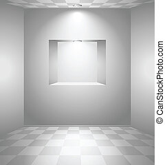 White room with niche - White room with checked floor and...