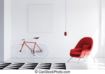White room with red bicycle