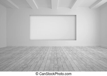 White room with screen in wall and floorboards