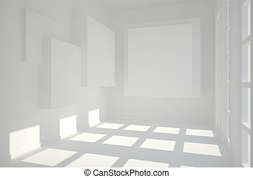 White room with squares at wall