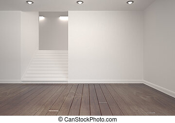 White room with stairs - Empty white room with stairs