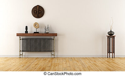 White room with vintage radiator