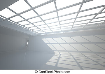 White room with windows at ceiling
