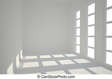 White room with windows - White bright room with windows and...