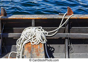 White Rope in Metal Boat