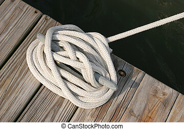 White rope on cleat