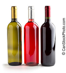 white, rosè and red wine - set of three wine bottles on...
