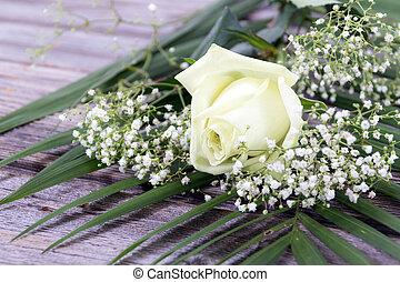 white rose flower on wood