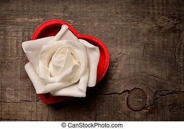 White rose in heart shaped box - Red heart shaped gift box...