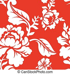 White rose on red background traditional Russian ornament Khokhloma. Floral seamless pattern. Vintage Flora texture. Floral background