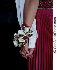 White Rose Wrist Corsage - White rose wrist corsage with red...