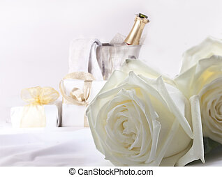 White roses and champagne