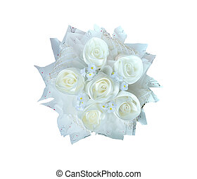white roses bouquet isolated white